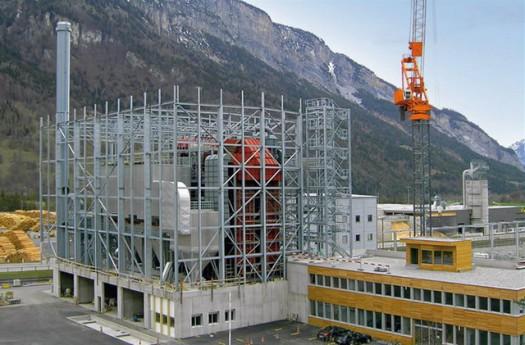 Biomasse Heizkraftwerk Domat/Ems im Rohbau